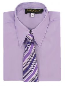 Rafael Big Boys Lilac Long Sleeve Dress Shirt Purple Stripe Tie Set 14