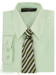 Rafael Big Boys Green Long Sleeve Dress Shirt Green Black Tie Set 7-20