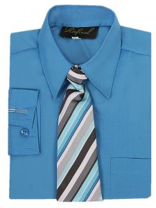 Rafael Big Boys Blue Long Sleeve Dress Shirt Striped Tie Set 12