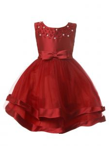 Rain Kids Baby Girls Multi Color Pearl Beaded Satin Special Occasion Dress 6-24M