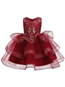 Rain Kids Girls Multi Color Floral Applique Tulle Skirt Christmas Dress 12M-8