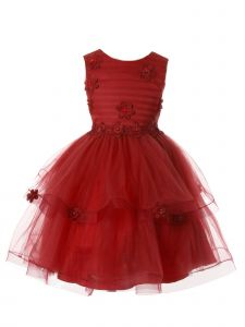 Rain Kids Girl Multi Color Delicate Flower Applique Special Occasion Dress 3-10