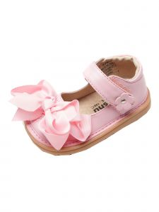 Mooshu Trainers Girls Pink Ready Set Mary Jane Squeaky Shoes 3-4 Baby