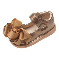 Mooshu Trainers Little Girls Bronze Bow Squeaky Mary Jane Shoes 5-9 Toddler