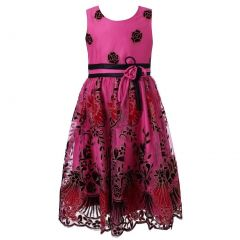Richie House Little Girls Fuchsia Floral Embroidered Party Dress 2-6