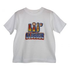 "Unisex White ""Lil' Slugger"" Lettering Print Cotton Short Sleeve T-Shirt 6-16"