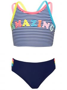 Big Girls Navy White Stripe Neon Color AMAZING 2pc Swimsuit 7-14