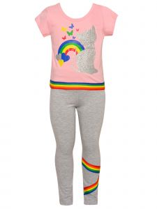 Big Girls Pink Gray Rainbow Cat 3pc Shirt Leggings Keychain Spring Outfit 7-12