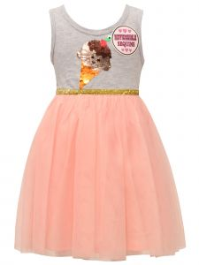 Little Girls Gray Blush Mesh Sequin Ice Cream Cone Sleeveless Easter Dress 2T-6X
