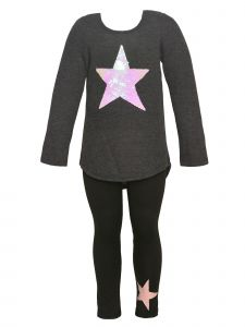 Little Girls Dark Gray White Sequin Star 2pc Sweatshirt Legging Outfit 4-6X