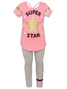 Big Girls Coral Sparkle Super Star 2pc Top Leggings Spring Outfit 7-12