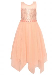 Big Girls Light Coral Tulle High-Low Sequin Dot Pearled Christmas Dress 7-14