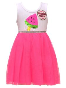 Little Girls White Hot Pink Sequin Watermelon Sleeveless Easter Dress 2T-6X