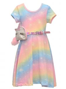 Little Girls Rainbow Knit Short Sleeve Spring Dress Unicorn Purse Set 2T-6X