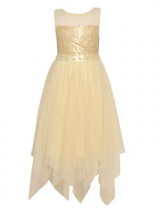 Little Girls Ivory Tulle High-Low Sequin Dot Pearled Christmas Dress 2T-6X