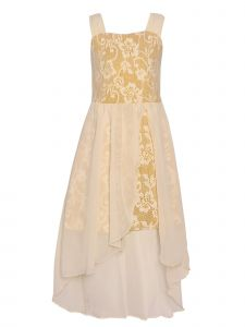 Girls Gold Sparkle Floral Lace Overlay Tulle High-Low Christmas Dress 7-14