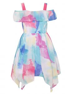 Little Girls Blue Multi Color Splash Ruffle Hanky Hem Easter Dress 2T-6X