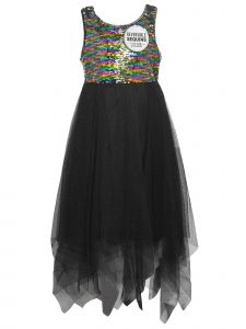 Little Girls Black Sleeveless Colorf Sequin Tulle High-Low Christmas Dress 4-6X