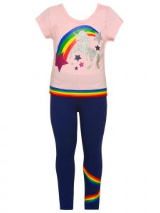 Big Girls Pink Gray Rainbow Unicorn 3pc Shirt Leggings Keychain Outfit 7-12