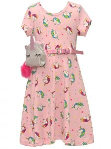 Little Girls Pink Unicorn Print Short Sleeve Belted Spring Dress Purse Set 2T-6X