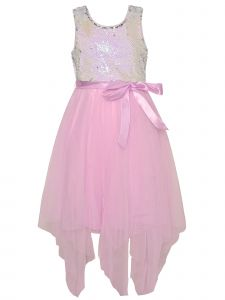 Little Girls Pink Reversible Silver Sequin Mesh Overlay Easter Dress 4-6X
