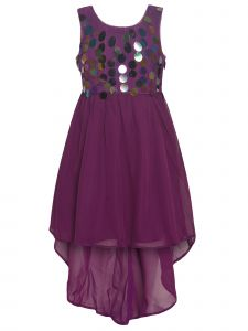 Little Girls Purple Sleeveless Sequin Disk Tulle High-Low Christmas Dress 4-6X