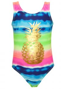 Little Girls Multi Color Tie Dye Stripe Gold Pineapple 1pc Swimsuit 4-6X