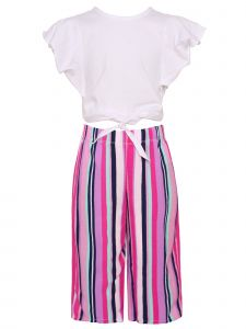 Girls Ruffle Short Sleeve Top Colorful Striped Pants Necklace 3pc Outfit 4-12