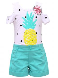 Little Girls White Cold Shoulder Sequin Pineapple Teal Shorts Summer Outfit 4-6X