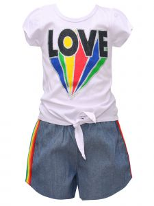 Big Girls White Rainbow LOVE Short Sleeve Tie Top 2pc Shorts Outfit 7-12