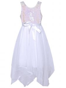 Little Girls White Reversible Silver Sequin Mesh Overlay Easter Dress 4-6X