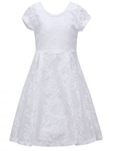 Big Girls White Lace Overlay Short Sleeve Easter Spring Dress 7-14