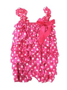 Wenchoice Little Girls Hot Pink Minnie White Dot Bow Detail Satin Romper 9M-3T