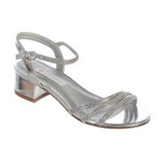 Girls Silver Sparkle Rhinestone Strap Buckle Block Heel Sandals 11-5 Kids