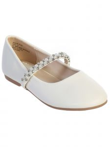 Little Girls White Rhinestone Pearl Strap Ballet Flats 9-10 Toddler