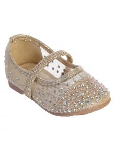 Girls Multi Color Rhinestone Elastic Strap Mesh Ballet Flats 5-8 Toddler