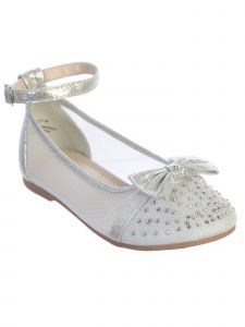 Little Girls Silver Mesh Rhinestone Bow Ballet Flats 9 Toddler