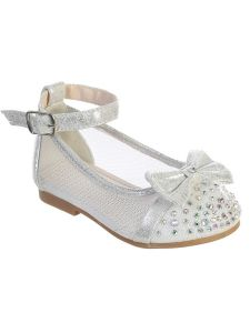 Girls Multi Color Mesh Rhinestone Bow Ballet Flats 1-8 Toddler