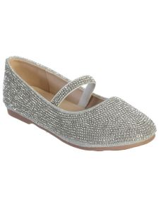 Big Girls Silver Rhinestone Elastic Strap Mary Jane Dress Shoes 3 Kids