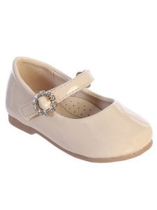 Baby Girls Nude Patent Rhinestone Buckle Mary Jane Dress Shoes 1-4 Baby