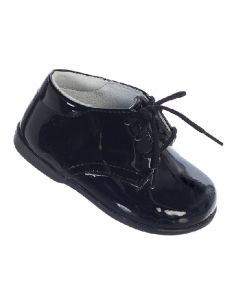 Tip Top Kids Baby Boys Black Leather Lace Up Dress Shoes 2 Baby