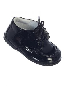 Tip Top Kids Little Boys Black Stitches Lace Up Dress Shoes 5-8 Toddler