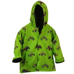 Foxfire Big Boys Green Sand Toys Print Hooded Trendy Raincoat 8-10