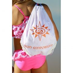 Sun Emporium Girls White Logo Print Drawstring Closure Waterproof Beach Bag