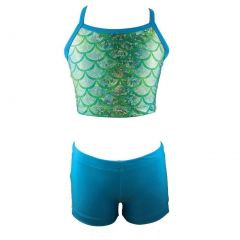 Reflectionz Little Girls Lime Turquoise Mermaid Scale Top 2 Pc Shorts Set 4-6
