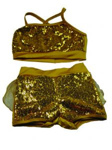 Reflectionz Little Girls Gold Glitter Sequin Ruffle 2 Pc Shorts Dance Set 4-6