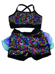 Reflectionz Big Girls Black Multi Rainbow Sequin 2 Pc Shorts Dance Set 8-10