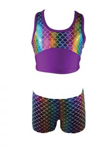 Reflectionz Little Girls Rainbow Multi Color Mermaid 2 Pc Shorts Dance Set 4-6