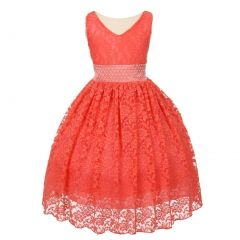 Little Girls Coral Heavy Spandex Lace Pearl Accented Flower Girl Dress 2-6