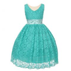 Big Girls Mint Heavy Spandex Lace Pearl Accented Junior Bridesmaid Dress 8-18